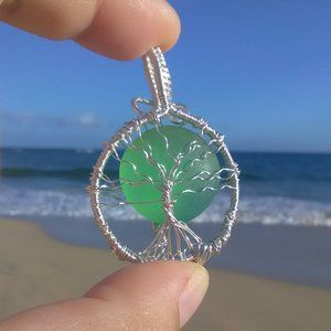 Green Sea Glass Silver Tree of Life Necklace